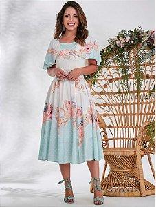 Vestido Estampado com Mix de Estampa Floral com Poá 50633 Jany Pim