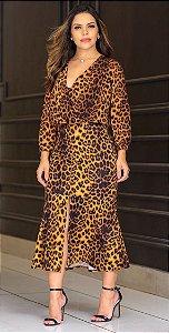 Vestido Midi de Onça e Manga Longa com Babado e Abertura Frontal - Az Irmas