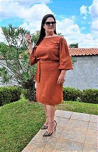 Vestido em Viscolinho no Terracota 153 - Valentina Sirrah