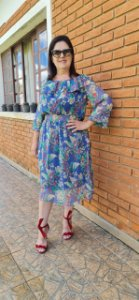Vestido Estampado Antonina Azul Claro 152 - Valentina Sirrah