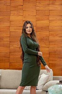 Vestido em Neoprene Tubinho Verde Militar 125 - Valentina Sirrah
