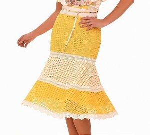 Saia em Laise Amarelo e Bege 12813 - Fasciniu's