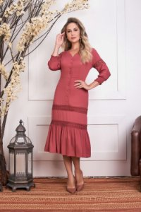 Vestido com Detalhe em Guipir e Botões Frontais Rose Adele 14332 - Fascíniu's