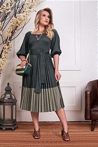 Vestido em Suede Plissado Jaqueline 15628 - Fascíniu's