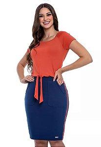 Vestido de Malha Azul e Laranja com Amarração Frontal Aurora 60596 - Hapuk
