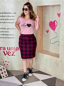 Conjunto Com Saia Xadrez Marsala e Blusa Rose Bianca 49212 - Hapuk