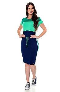 Vestido em Malha Verde e Azul Marinho Pietra 60616 - Hapuk