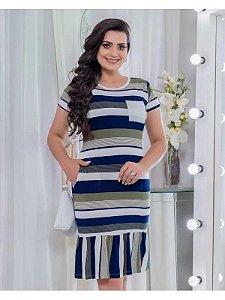 Vestido em Malha Listrado com Babado 9037 - Olga Lima