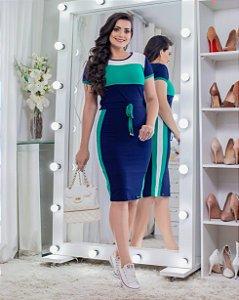 Vestido de Malha Azul e Verde 9040 - Olga Lima