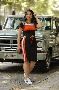 Vestido de Malha Preto e Laranja 9040 - Olga Lima