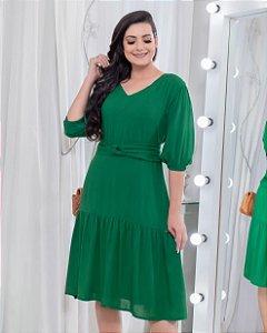 Vestido em Viscolinho Verde 9058 - Olga Lima