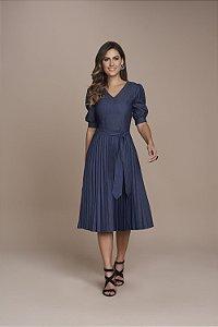 Vestido Plissado Jeans 115cm 5533 - Titanium