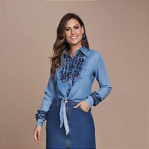 Camisa Jeans com Babados e Amarração Frontal 5493 - Titanium