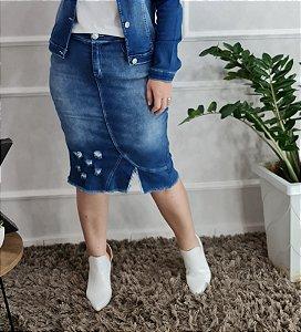 Saia Jeans Sorenzza 10389 - Moda Evangélica