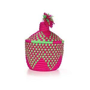 Moroccan Basket Green Pink | 25x19cm