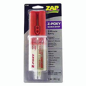 ZAP - Cola epóxi de cura em 5 minutos (28,3 g) Z-Poxy Quick Shot em duas seringas