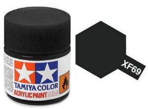 Tinta Tamiya para plastimodelismo - Acrílica mini XF-69 Preto OTAN - 10 ml - NOVIDADE!