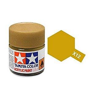 Tinta Tamiya para plastimodelismo - Acrílica mini X-12 Dourado (gold leaf)- 10 ml - NOVIDADE!