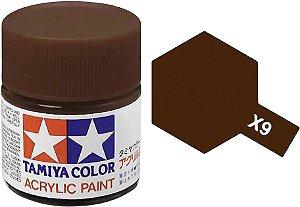 Tinta Tamiya para plastimodelismo - Acrílica mini X-9 Marrom - 10ml - NOVIDADE!