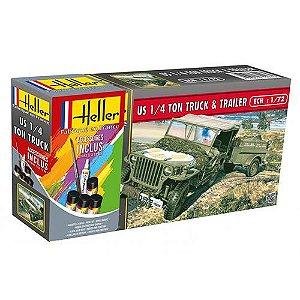 HELLER - US 1/4 Ton Truck & Trailer - Starter Set - 1/72 - NOVIDADE!