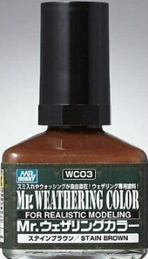 Gunze - Mr. Weathering Color WC03 - Stain Brown (Wash com base Óleo) - 40ml