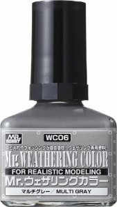 Gunze - Mr. Weathering Color WC06 - Multi Gray (Wash com base Óleo) - 40ml