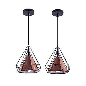 Kit c/ 2 Pendente Aramado Piramidal Preto c/ Tecido Café 25cm Design Estilo Industrial  - Startec