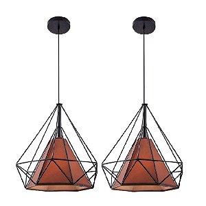 Kit c/ 2 Pendente Aramado Piramidal Preto c/ Tecido Café 38cm Design Estilo Industrial  - Startec