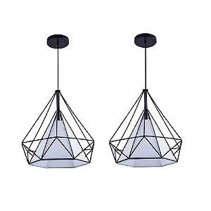 Kit c/ 2 Pendente Aramado Piramidal Preto c/ Tecido Branco 38cm Design Estilo Industrial  - Startec
