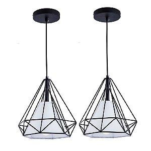 Kit c/ 2 Pendente Aramado Piramidal Preto c/Tecido Branco 25cm Design Estilo Industrial  - Startec