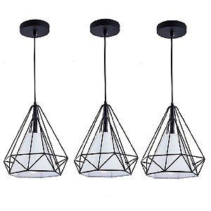 Kit c/ 3 Pendente Aramado Piramidal Preto c/Tecido Branco 25cm Design Estilo Industrial  - Startec