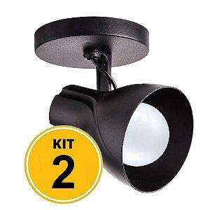 KIT 02 Spot Sobrepor Direcionável Octa Plus Preto 1xE27 Bivolt - Design Moderno Sala/Quarto - Startec