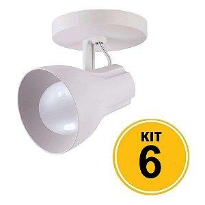 Kit c/ 6 Spot Sobrepor Direcionável Octa Plus Branco