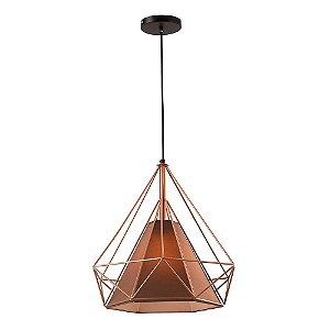 Pendente Aramado Piramidal Cobre/Rose Gold c/ Tecido Café 38cm Design Estilo Industrial  - Startec