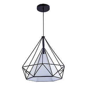 Pendente Aramado Piramidal Preto c/ Tecido Branco 38cm Design Estilo Industrial  - Startec