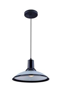 Lustre/Pendente Chapéu em Vidro Ice Preto 30 cm Design Moderno - Startec