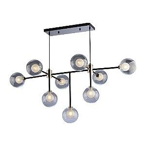 Lustre/Pendente Sputnik Manhattan Preto com Dourado 9 Lâmpadas  Moderno Industrial - Startec