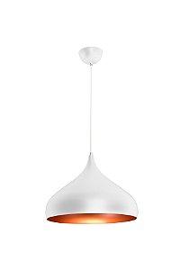 Lustre/Pendente Gota Alumínio RPX Branco c/ Cobre 40cm Design Moderno - Startec