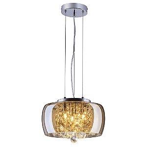 Pendente/Plafon em Vidro e Cristal Attractive Ambar 28 cm G9 - Lustre Design Moderno Sala/Quarto - Startec