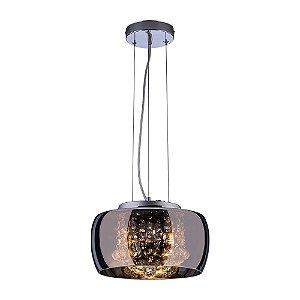 Pendente/Plafon em Vidro e Cristal Attractive Cromado 28cm G9 - Lustre Design Moderno Sala/Quarto - Startec