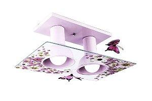 Lustre/Plafon Duplo Infantil Floral E27 Luminária Flores e Borboletas Quarto de Menina - Startec