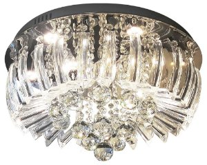Plafon Sobrepor LED Cristal e Acrílico Greta 45cm 24W 3000K