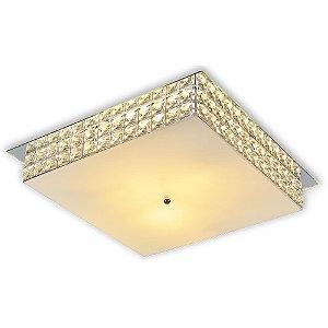 Plafon Sobrepor Quadrado Cristal Legítimo London Espelho 40cm 2xE27  - Startec