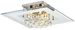 Luminária/Plafon Sobrepor Quadrado Cristal Legítimo Roma Branco 40cm G9  - Startec
