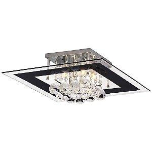 Luminária/Plafon Sobrepor Quadrado Cristal Legítimo Roma Preto 40cm G9  - Startec