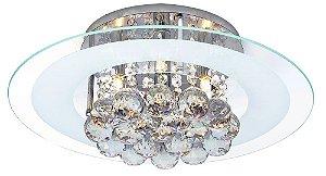Luminária/Plafon Sobrepor Redondo Cristal Legítimo Roma Branco 40cm G9  - Startec