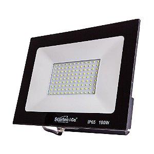 Refletor Holofote LED Preto 100W 3000K Branco Quente Bivolt a Prova D´Água - Startec