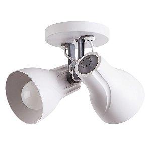 Spot Sobrepor Direcionável Duplo Octa Plus Branco/Cinza 2xE27 Bivolt - Design Moderno Quarto/Sala - Startec