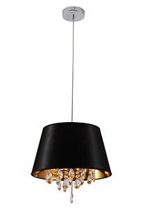 Lustre/Pendente com Pingente em Cristal Legítimo Smart Preto 40cm - Sala