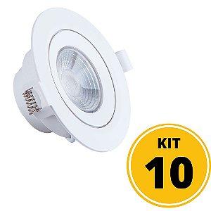 Kit 10 Spots de Embutir LED Redondo PP 7W 4000K - Startec